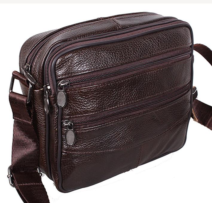 df9639e889a8 Кожаная сумка мужская через плечо барсетка Bon2011-2 коричневая 18х20х8см