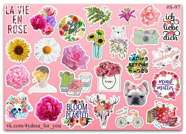 Stickers Pack Flowers, Цветы #97