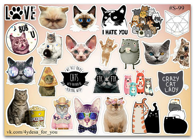 Stickers Pack Cats, Котики #99