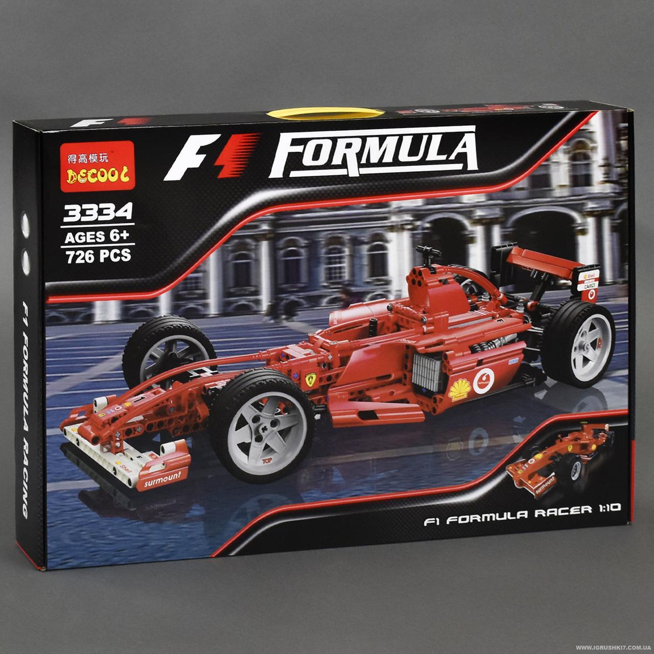 """Конструктор Decool 3334 """"Гоночний автомобіль Феррарі F1 1:10"""" 726 деталей."""