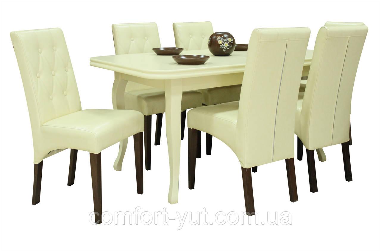 Стол Премьер бежевый 160(+40)*90 обеденный раскладной деревянный
