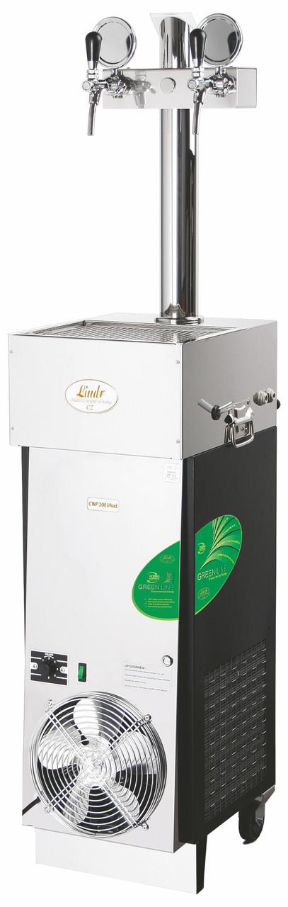 Охладитель пива мобильный - 200 л/ч - проточный, CWP 200 Green line (колонна с 2-мя кранами), Lindr, Чехия