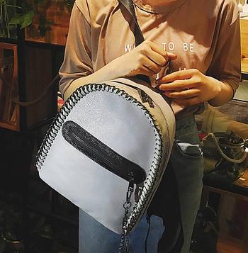 Модний рюкзак жіночий міський. Рюкзак для дівчинки Стела з ланцюгами (сірий)