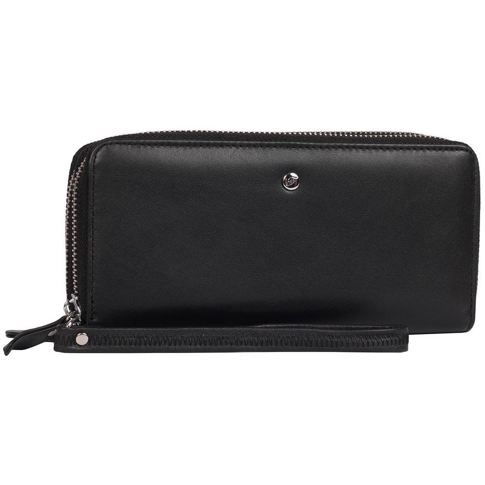689ef20e153e Вместительный женский кошелек из натуральной кожи на две молнии черный  AL-W38-2BL -