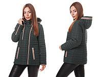 Женская демисезонная куртка косуха весна-осень 2018 темно зелёный