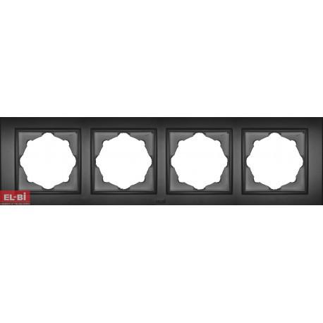 Рамка EL-BI VEGA Silverline чорний металік 4-на