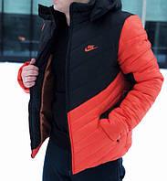 Мужская зимняя куртка Nike с капюшоном черно-оранжевая топ реплика
