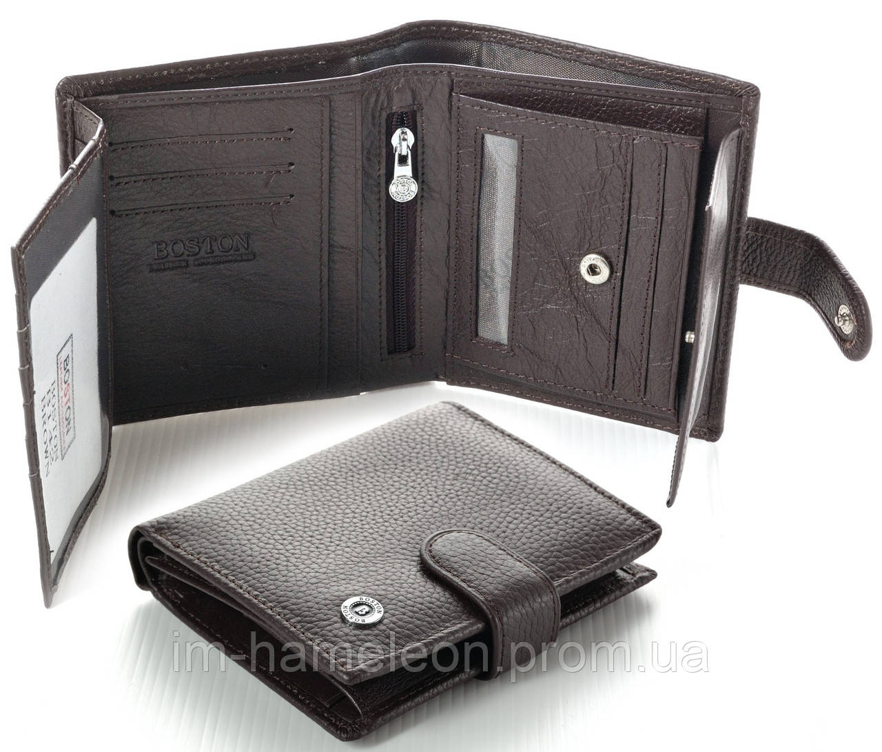 02f2810b57b4 Мужской кожаный кошелек Boston коричневый - Интернет-магазин