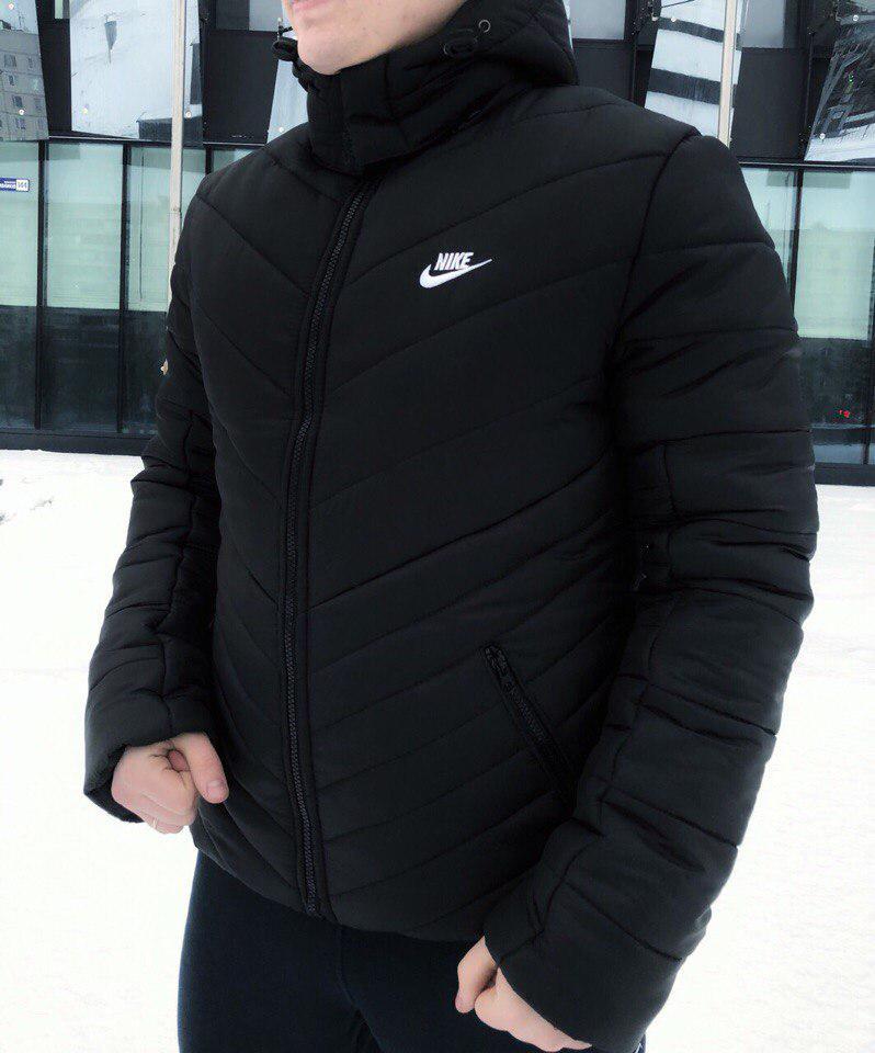 66b11173 Мужская зимняя куртка Nike с капюшоном черная топ реплика -  Интернет-магазин обуви и одежды