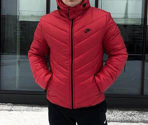 Мужская зимняя куртка Nike с капюшоном красная топ реплика, фото 2