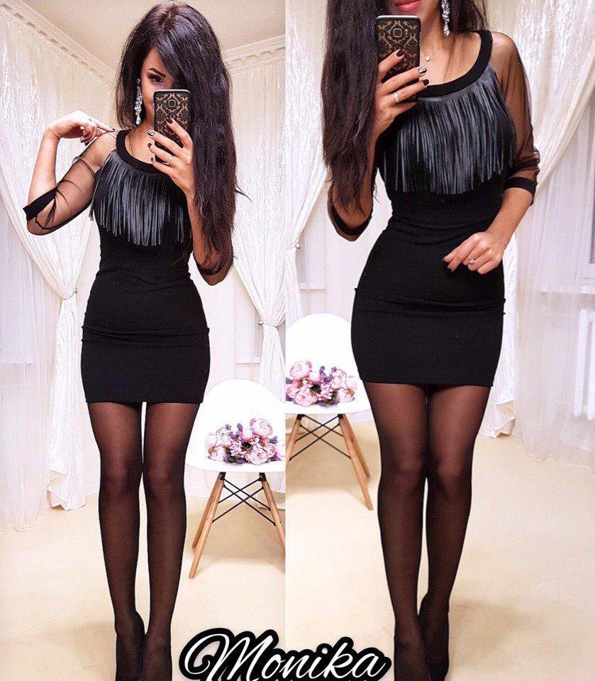 Черное платье приталенное