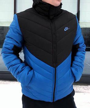 Мужская зимняя куртка Nike с капюшоном черно-синяя топ реплика, фото 2