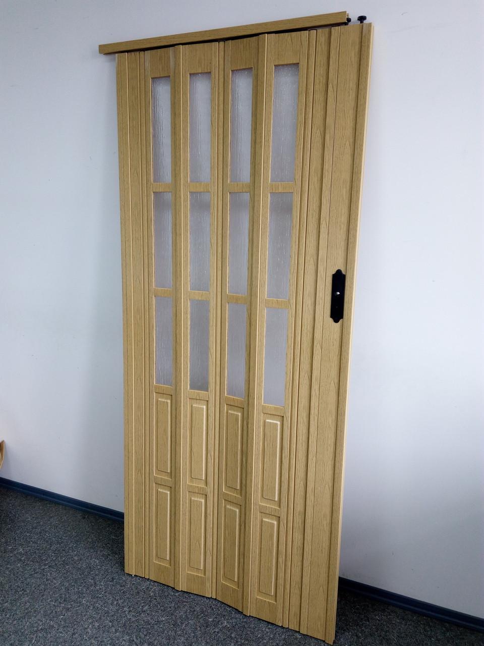 Двери гармошка полуостекленные 1020х2030х12мм  дуб 269