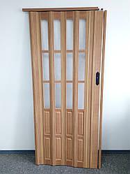 Двери гармошкой полуостекленные 1020х2030х12мм  бук 503