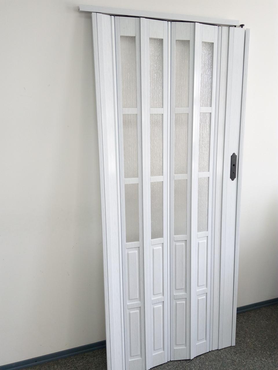 Дверь гармошка межкомнатная полуостекленная, белый ясень 610, 1020х2030х10мм