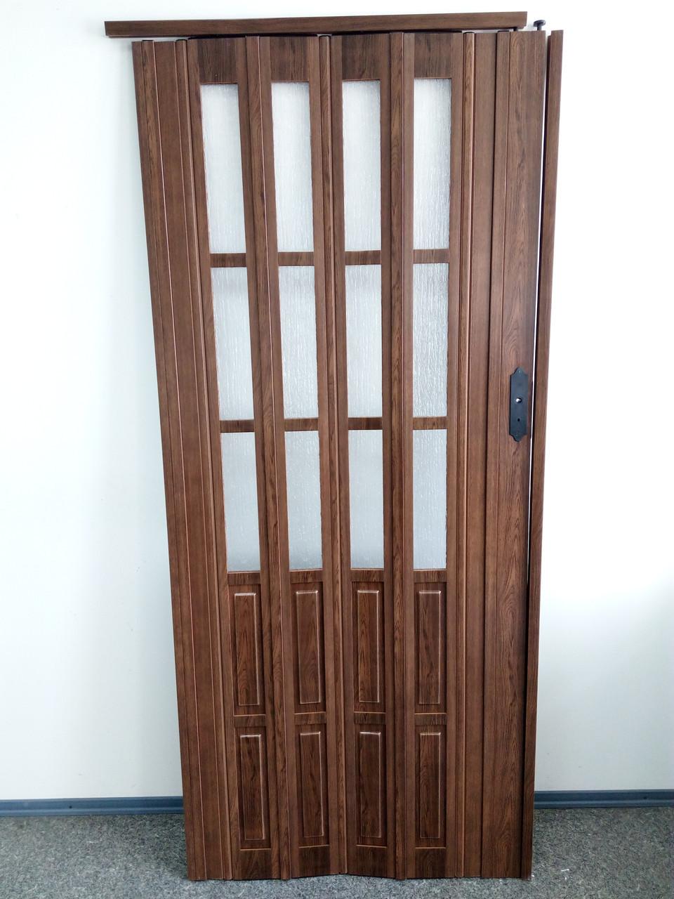 Дверь гармошка межкомнатная полуостекленная, дуб темный 7036, 1020х2030х10мм