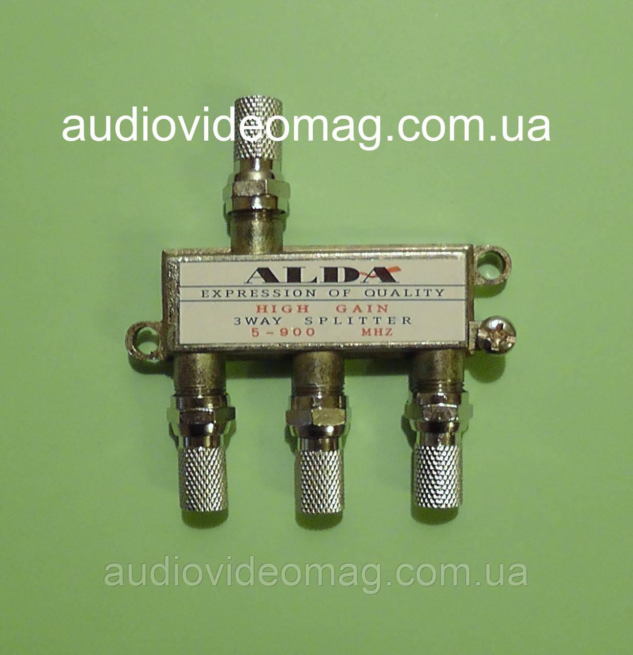 Сплітер, антенний разветвитель ALDA на 3 телевізора ТБ з гайками