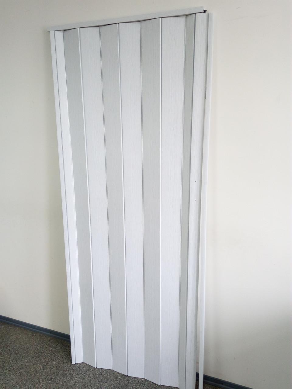 Дверь гармошка межкомнатная глухая, белый ясень 610, 810*2030*6мм