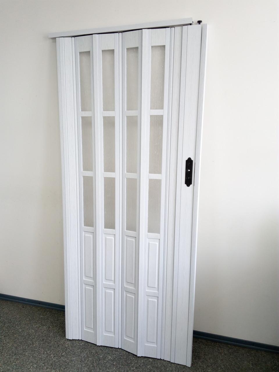 Дверь гармошка межкомнатная полуостекленная, белый ясень 610, 860х2030х10мм