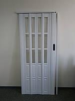 Дверь гармошка межкомнатная полуостекленная, белый 822, 860х2030х10мм