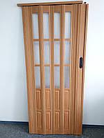 Дверь гармошка межкомнатная полуостекленная, вишня 501, 860х2030х10мм