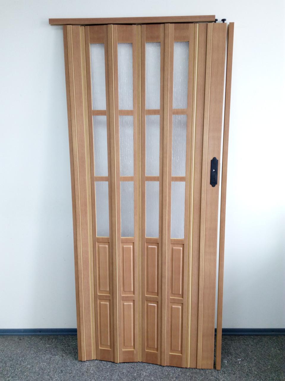 Дверь гармошка межкомнатная полуостекленная, бук 503, 860х2030х10мм
