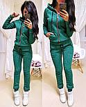 Женский модный теплый костюм на флисе: толстовка на молнии и штаны (5 цветов), фото 6