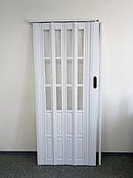 Дверь гармошка межкомнатная полу стекло, белый 822, 860х2030х10мм