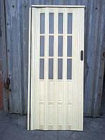 Дверь гармошка полу остекленная сосна 7012, 860х2030х12мм