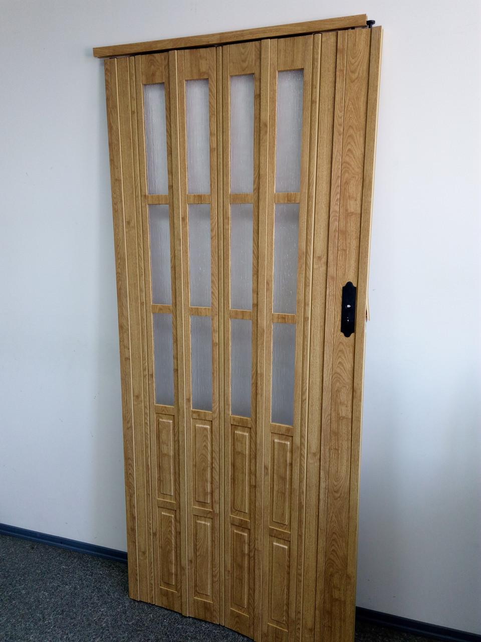 Дверь гармошка межкомнатная полуостекленная, дуб матовый 802, 860*2030*10мм