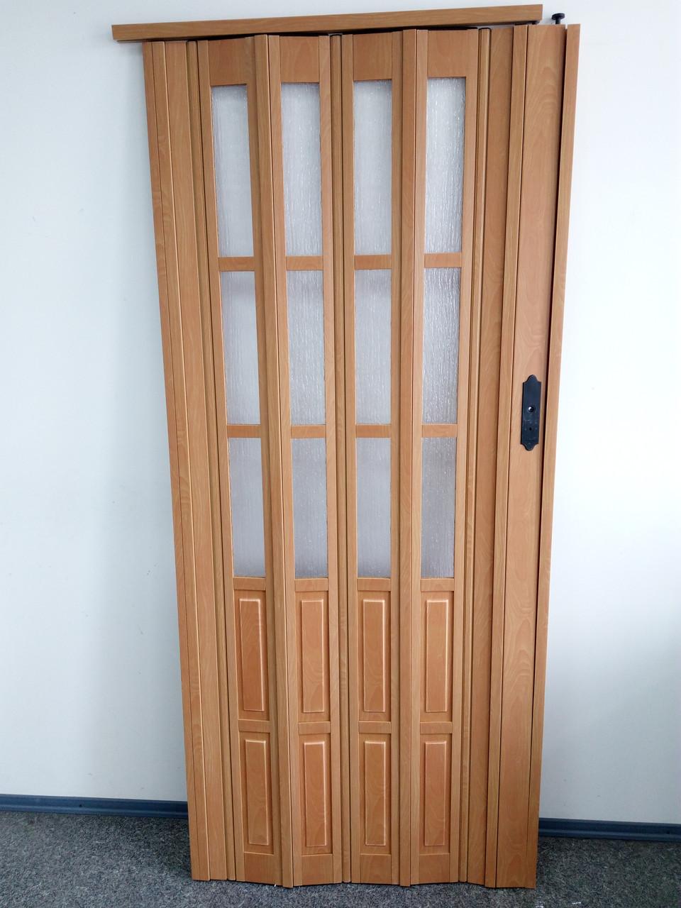 Дверь гармошка межкомнатная полуостекленная, вишня 501, 860*2030*10 мм