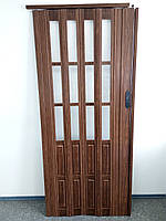 Дверь гармошка межкомнатная полуостекленная, дуб темный 7036, 860х2030х10мм