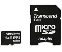 Карта памяти Transcend microSDHC 16GB Class 10 SD + адаптер SD