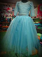 Голубое детское бальное платье на 6 - 10 лет