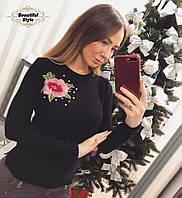 Женский вязаный джемпер с аппликацией Роза