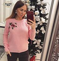 Женский вязаный джемпер с аппликацией Роза Розовый