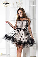 Нарядное пышное  платье из кристалла и фатина