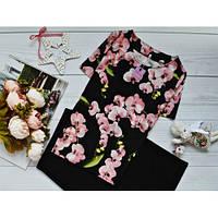 Блуза с ярким принтом: орхидеи + (2 цвета)