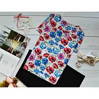 Блуза с ярким принтом: разноцветные маки