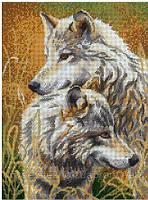 Схема на ткани под вышивку бисером Волки