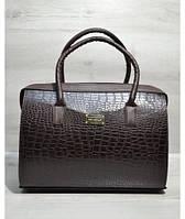 """Каркасная женская сумка """"Саквояж"""" коричневый крокодил"""