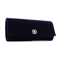 Клатч женский, выпускной, вечерний синий велюр Rose Heart 103205