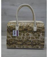 """Каркасная женская сумка """"Саквояж"""" золотая змея"""