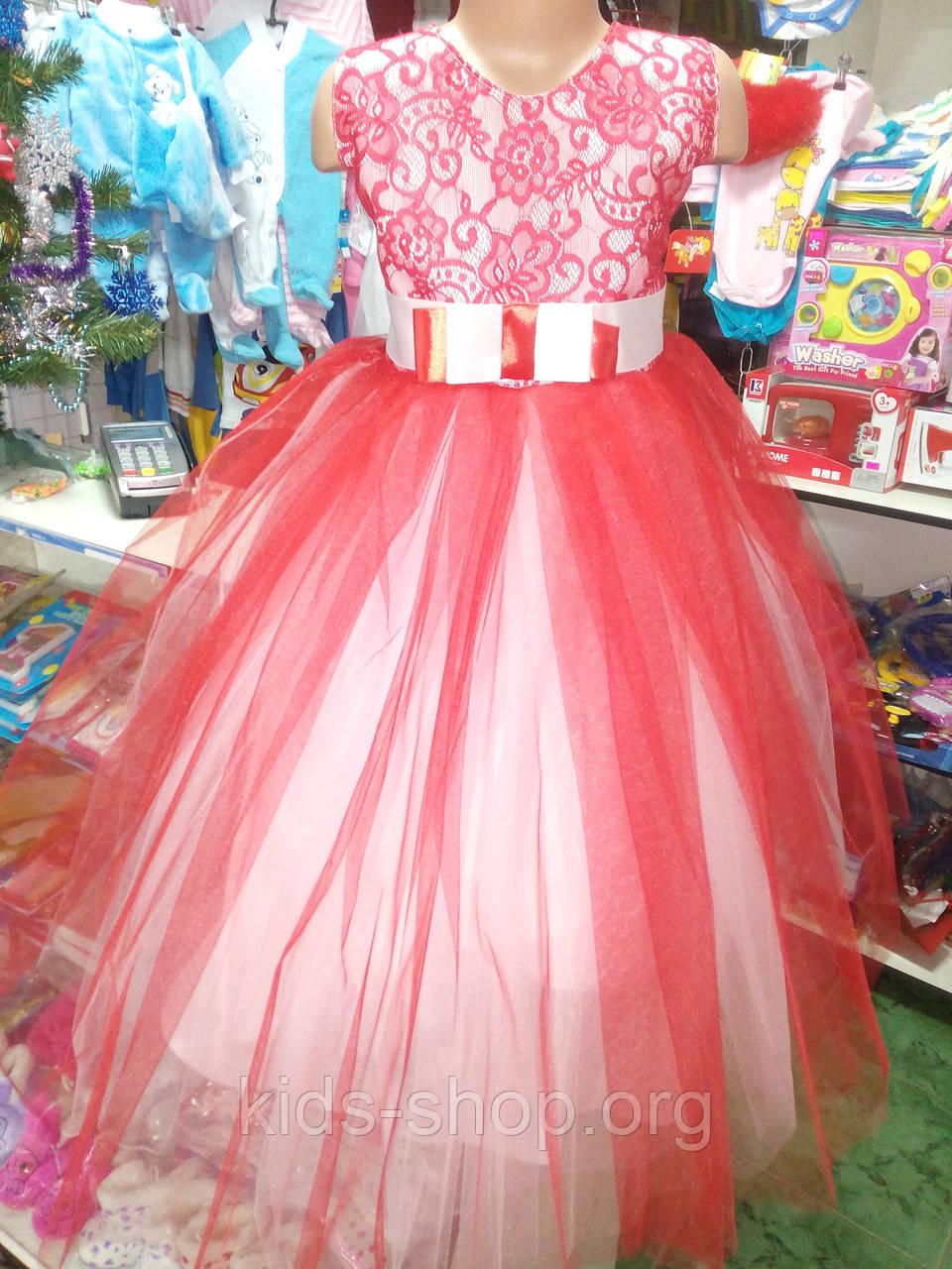 cbfdf5eeb33 Красное детское бальное платье на 6 - 10 лет