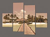 Модульная картина на кожзаме Остров мечты. Мальдивы 120*93 см