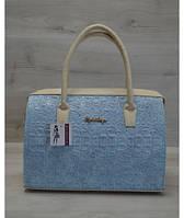 """Каркасная женская сумка """"Саквояж"""" голубой крокодил"""