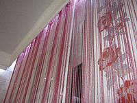 Кисея Радуга дождь с бусинами (белый+розовый+фрез), фото 1