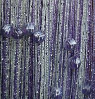 Кисея Радуга дождь с бусинами  (белый+сирень), фото 1