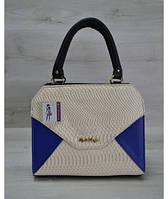 Женская сумка Конверт черная с бежево-синей вставкой