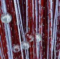 Кисея Радуга дождь с бусинами  (белый+бордо+красный)